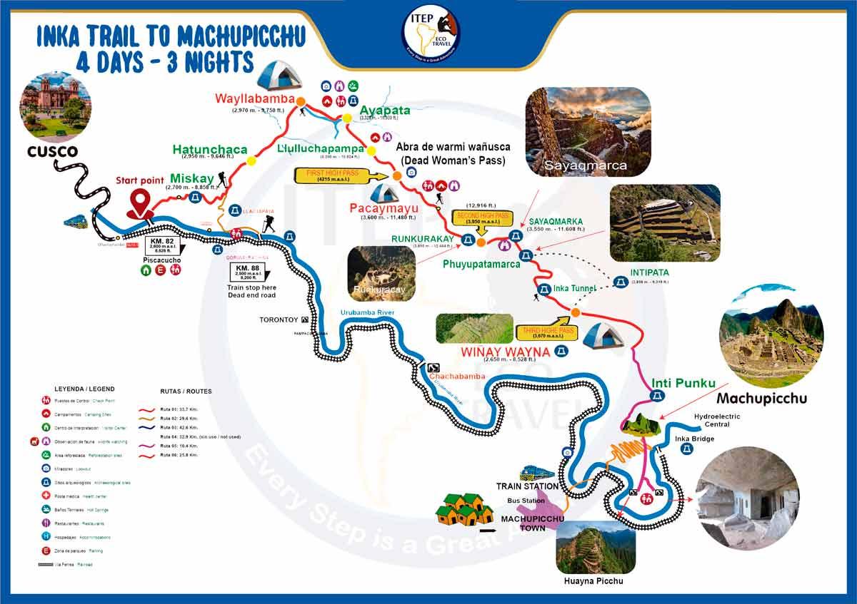 Classic Inca Trail to Machu Picchu Map