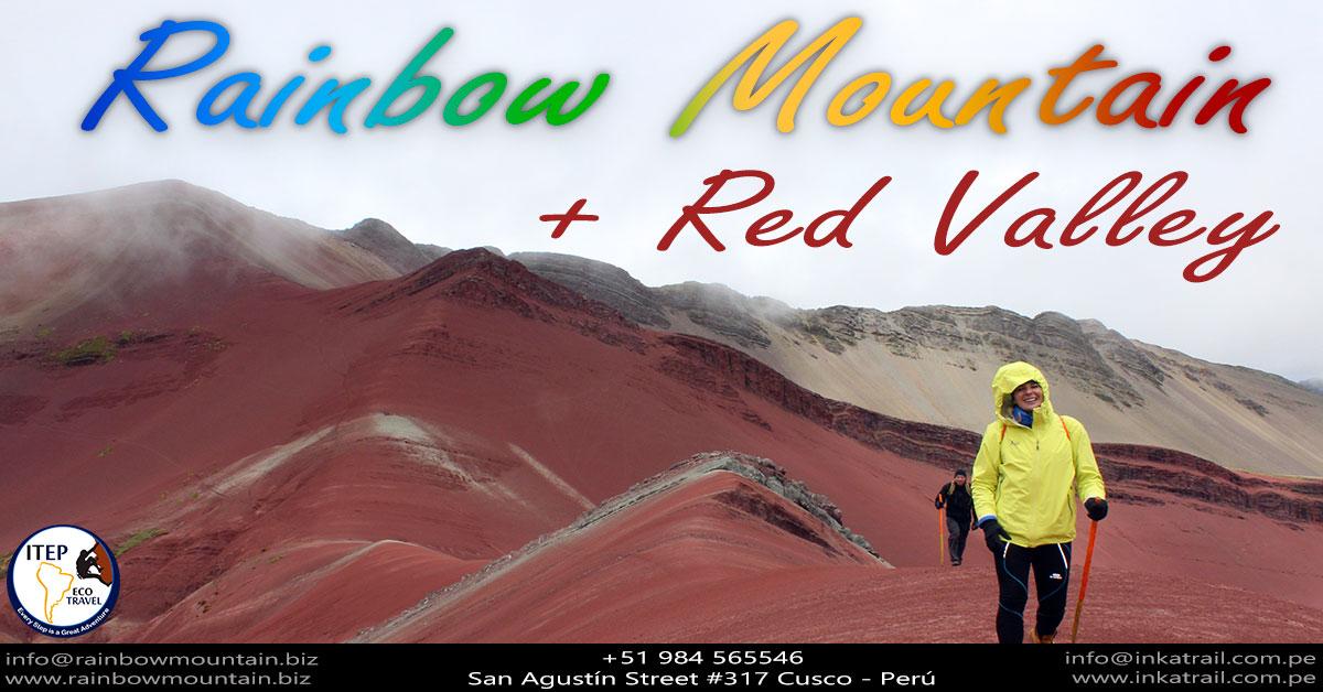 rainbow mountain,red valley,trekking cusco,hiking mountain,vinicunca,rainbow